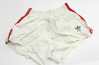 ADIDAS SHORTS,white shiny made in west germany '80s vintage old school sz.7 844