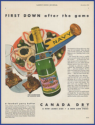 Vintage 1931 CANADA DRY Pale Ginger Ale Navy Football Sport Print Ad 30's
