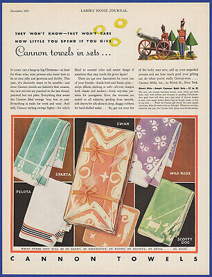Vintage 1931 CANNON TOWELS Sparta Pelota Swan Wild Rose Scotty Dog Print Ad 30's
