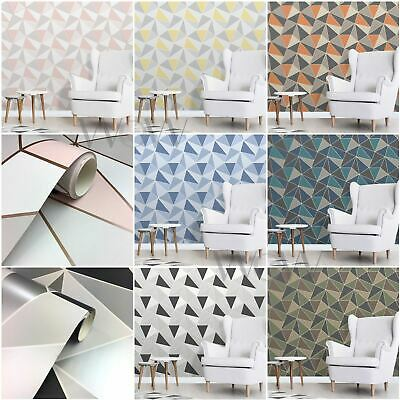 Fine Decor Apex Geometric Wallpaper - Rose Gold, Black/silver, Blue, Yellow/grey