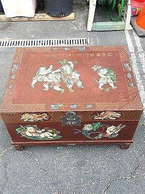 Antique Chinese Large Red Lacquer Wood Chest