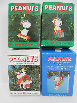 LOT 4 Willitts Peanuts Snoopy Woodstock Christmas Ornaments Vtg