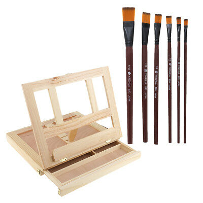 Artist Wood Tabletop Painting Table Box Easel with Storage Drawer Brushes
