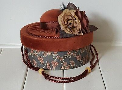 Vintage Style Small Hat Box Pill Box Floral Roses Velvet Silk Decorative
