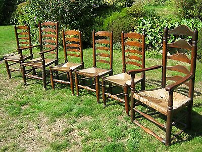 George III Lancashire Ladder Back Chairs, Elm with Rush Seats