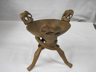 Vintage Hand-Carved Elephant Folding Wooden Bowl Stand with Bowl-...nt