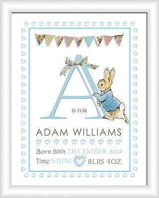 A4 Personalised Peter Rabbit Print/Picture Christening Gift Nursery New Baby
