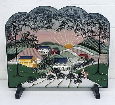 Vintage Decorative Hand-Painted FIREPLACE SCREEN Wood Panel Rural Scenery CATHY