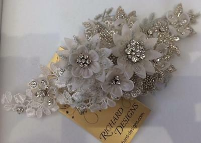 Vintage Inspired Ivory and Silver Wedding Hair Comb by Richard Designs TR1895A