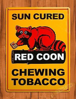 "TIN-UPS TIN SIGN ""Red Coon"" Chewing Tobacco Advertising Bar Wall Decor"