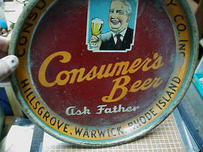 1930s Consumer's Brewery Beer Tray, Ask Father, Warwick Rhode Island