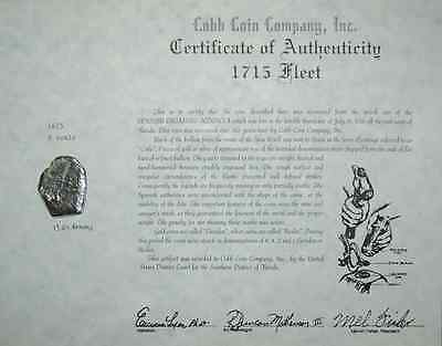 Mexico Silver Cob 8 Reales 1715 Fleet Shipwreck Coin w/ Mel Fisher Stamped Cert.