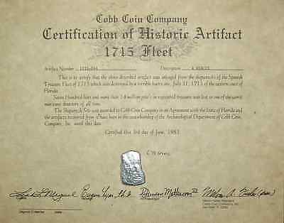 Mexico Silver Cob 4 Reale 1715 Fleet Shipwreck Coin w/ Mel Fisher Stamped Cert.