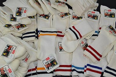 Vtg Lot of 52 Pairs HANES PRO'S CHOICE White & Stripe Crew Socks 9-11
