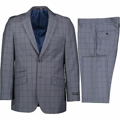 Men's Light Gray Windowpane 2 Button Slim-Fit Suit w/ Ticket Pocket NEW