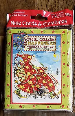 Mary Engelbreit Christmas Santa Some Cause Happiness Note Cards Set of 4 NEW!