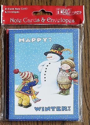 Mary Engelbreit Christmas Happy Winter Snowman Note Cards Set of 8 NEW!