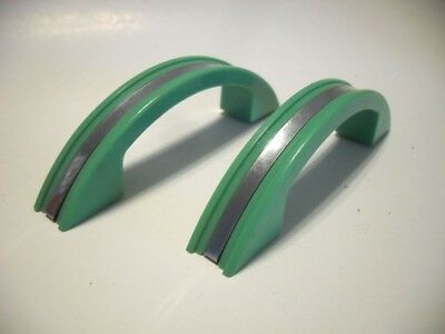 2 Vintage Light GREEN Plastic DRAWER PullS w CHROME Metal Center Strips Art Deco