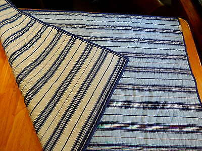 POTTERY BARN KIDS Clean Baby Crib Quilt Blue White Striped Nursery Bedding