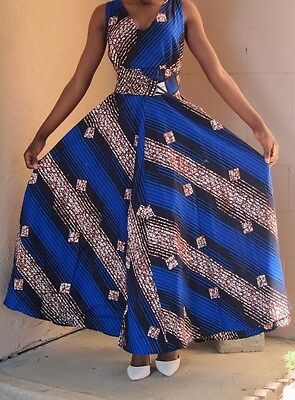 African Print Maxi dress, maxi dress, summer dress, blue maxi dress, Vneck dress