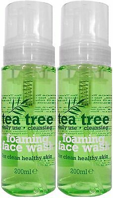 2 X 200ml Tea Tree Foaming Face Wash - Daily Use for Healthy Clean Skin
