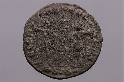 COIN182 Old ancient coins. Follis Delmatius Thessalonika Soldiers Roman Empire
