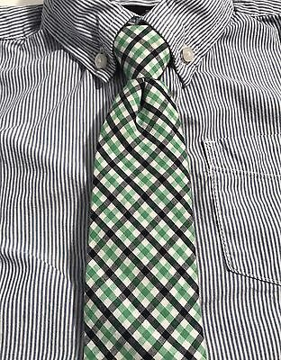 Boys J Khaki Tie. Green And Navy Blue Check. Zip Up Tie. 100%Cotton