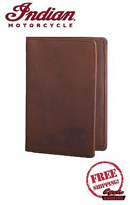 Indian Motorcycles Brand Leather Bi-Fold Passport Holder New Authentic