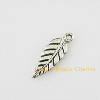35 New Tiny Leaf Tibetan Silver Tone Charms Pendants 6.5x19mm