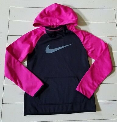Nike Girl's Dri-FIT Hoodie Size Youth Medium Pink and Black.