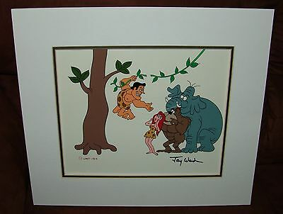 George Of The Jungle Hand Inked Scene Cel, Signed By Jay Ward, 4 Main Characters