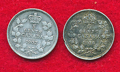 Canada 1902H & 1906 5 CENTS (2 Coins)  SILVER!