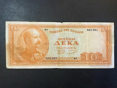 1954 Greece Paper Money - 10 Drachma Banknote !