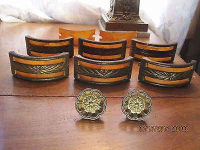 vintage Art Deco drawer pull handles with celluloid Bakelite Inserts