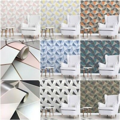 Fine Decor Apex Geometric Wallpaper Metallic - Rose Gold Black Blue & More