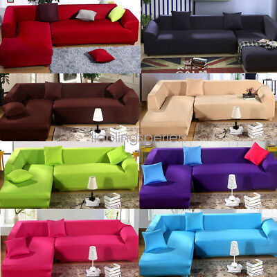 USA L Shape Stretch Elastic Fabric Sofa Cover Sectional Corner Couch Covers