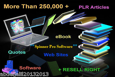More Than 250,000 + eBooks,PLR Articles,Quotes ,Websites,Software, resell rights