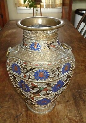 fine antique Japanese coisonne brass vase