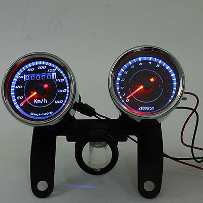 Cylinders Motorcycle  LED Backlight LCD Digital Speedometer Tachometer Odometer