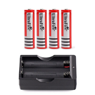 4pcs 18650 3.7v 4000mah Rechargeable Li-ion Battery Red Batteries Cell + Charger