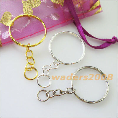 10 New Gold Dull Silver Bronze Plated Split Key Rings 25mm With Chains Connector