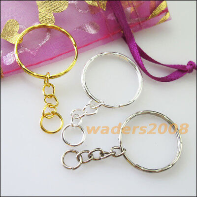 12 New Gold Dull Silver Bronze Plated Split Key Rings 25mm With Chains Connector