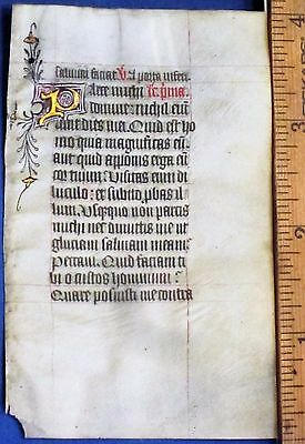 English lluminated Medieval BoH.Manuscript Lf,Deco.color&Gold Initials,c.1440