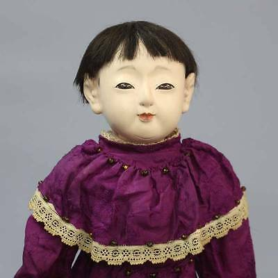 Antique Japanese Ichimatsu Daki Ningyo Jointed Purple Dress Hina Gofun Doll