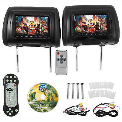 "iMeshbean New 7"" Black Car Headrest Monitors w/DVD Player/USB+Games"