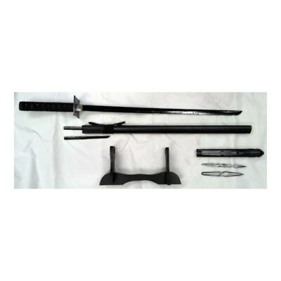 Ninja Sword Black Blade- With four knives and Stand - 100cm