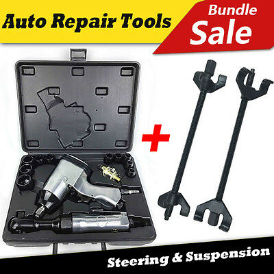 17pc Air Impact Ratchet Wrench Rattle Gun Tool & 2x380mm Coil Spring Compressor
