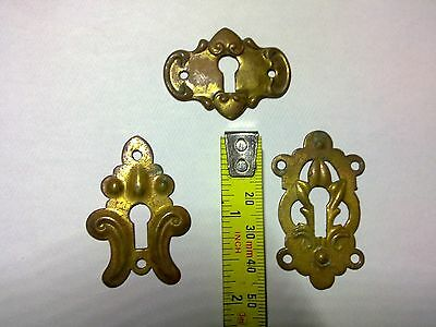 escutcheons x3, stamped brass, antique or vintage (DP66)