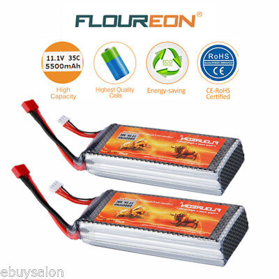 2x 11.1V 5500mAh 3S 35C Lipo Battery Deans for RC Helicopter Airplane Car Truggy