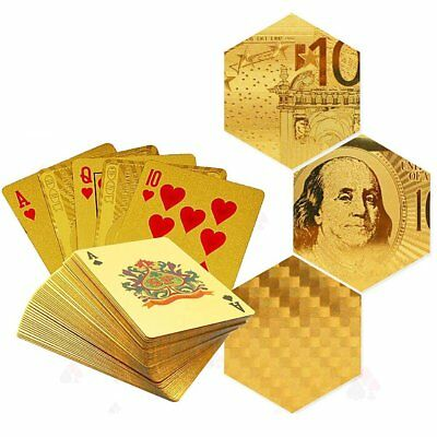 Pro Waterproof 24K Gold Foil Plated Poker 54 Playing Cards For Casino Table Game